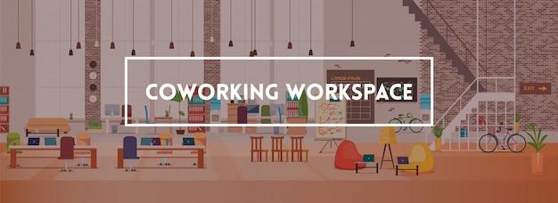 Office interior. coworking workspace. vector. Premium Vector