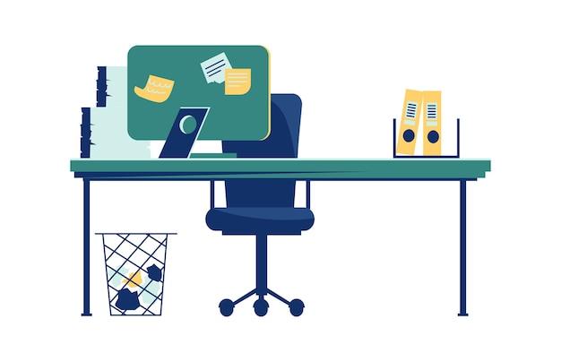 Интерьер офиса, изолированные на белом мультфильм Бесплатные векторы