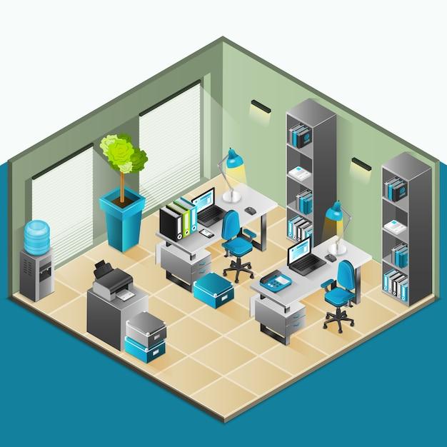 Office Interior Isometric Design Vector