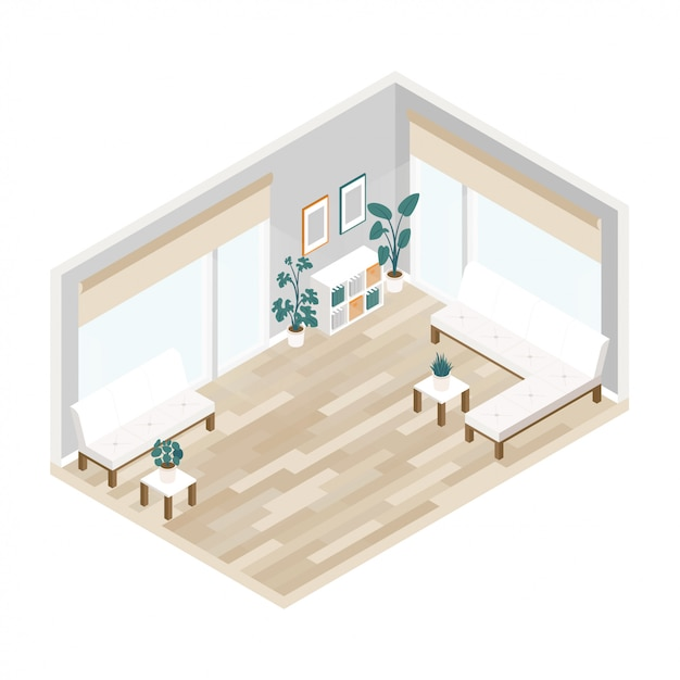 Office interior of large lobby in isometric Premium Vector