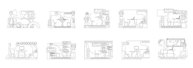 Набор иллюстраций наброски интерьера офиса. композиции контура рабочего места работника на белой предпосылке. креативная студия, коворкинг, коллекция рисунков в простом стиле Premium векторы