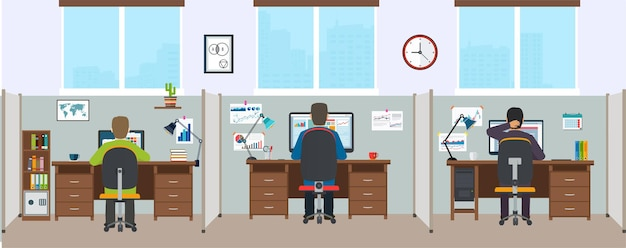 Office interior with employees. modern office interior. office space with designers.