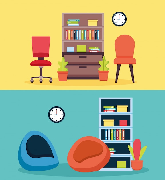 Интерьер офиса на рабочем месте Бесплатные векторы