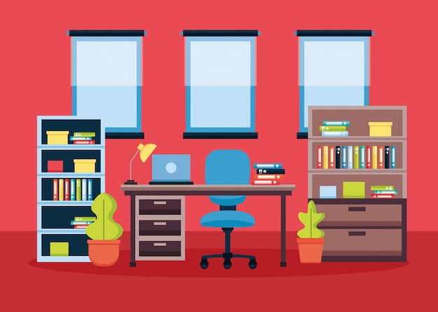 Office interior workplace Free Vector