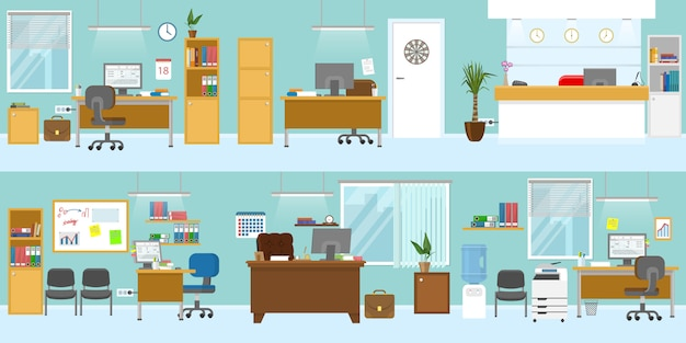 Шаблон интерьера офиса с деревянной мебелью приемной на рабочем месте для босса потолок светло-голубые стены изолированных векторные иллюстрации Бесплатные векторы