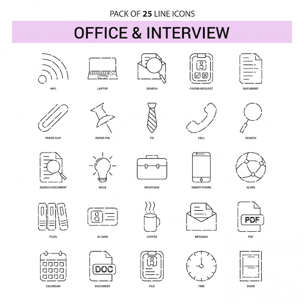 Office and interview line icon set - 25 dashed outline style Premium Vector