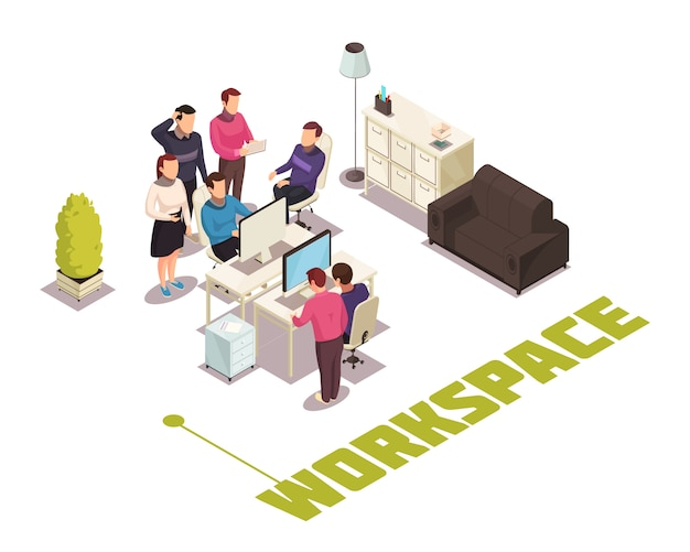 Office isometric composition Free Vector