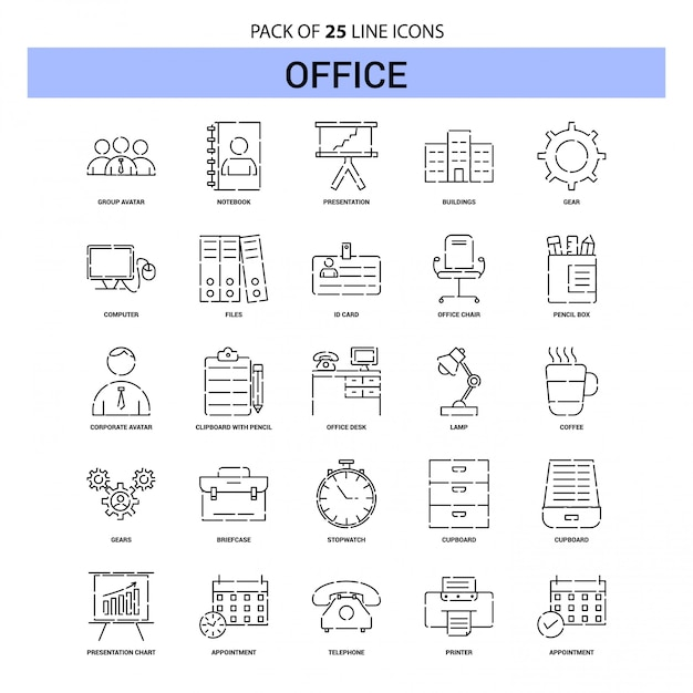 Office line icon set - 25 dashed outline style Premium Vector
