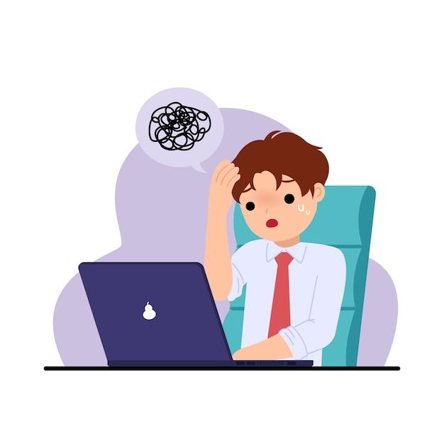 Офисный человек чувствует себя напряженным и обеспокоенным. решение проблем. вызов на работе. офисные картинки. иллюстрация на белом. Premium векторы