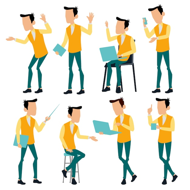 Office man poses set. creative modern colors. business person Premium Vector