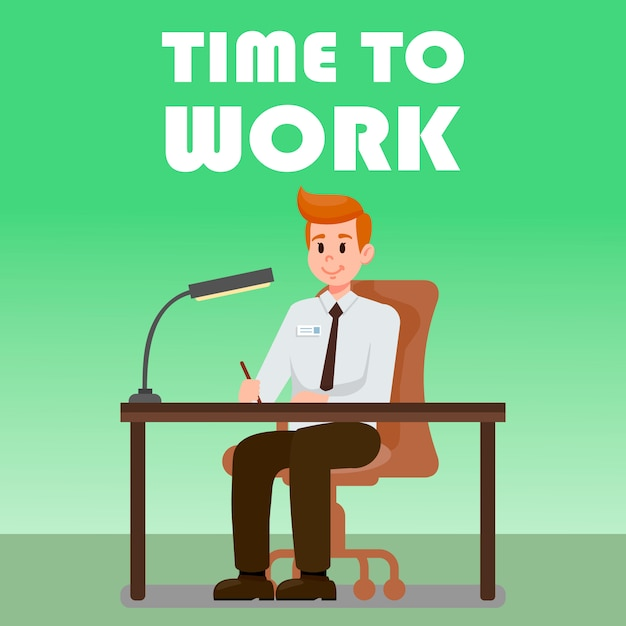 Office man sitting at desk vector illustration Premium Vector