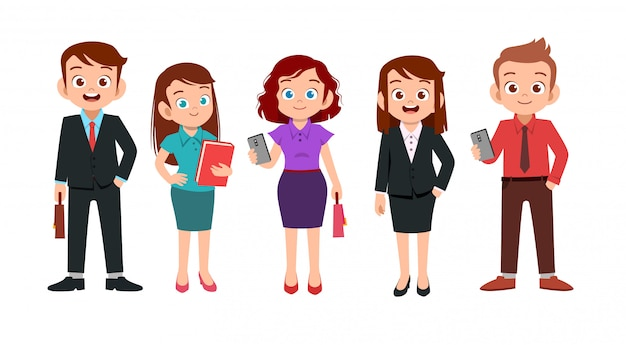 Office man and woman set Premium Vector