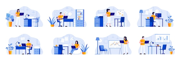 Office management scenes bundle with people characters. businesspersons working with computer at workplace in office situations. tasks management and work organization flat illustration Premium Vector