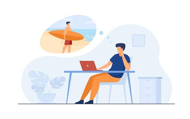 바다에서 휴가를 꿈꾸는 사무실 관리자 무료 벡터