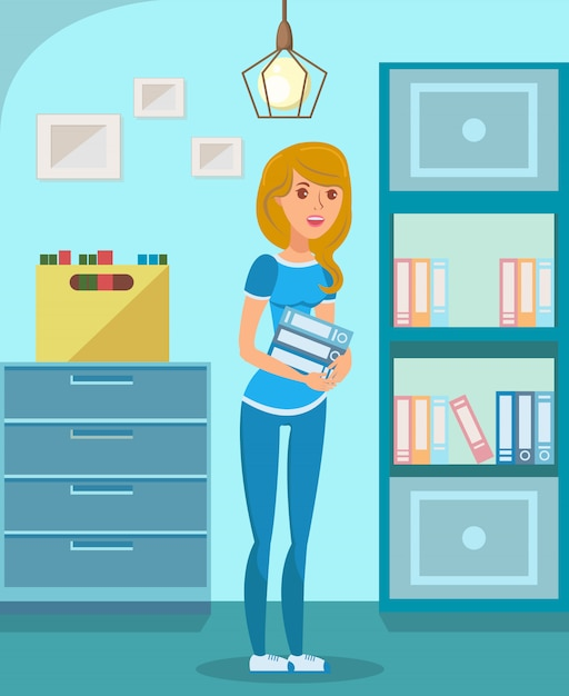 Office manager, student flat Premium Vector