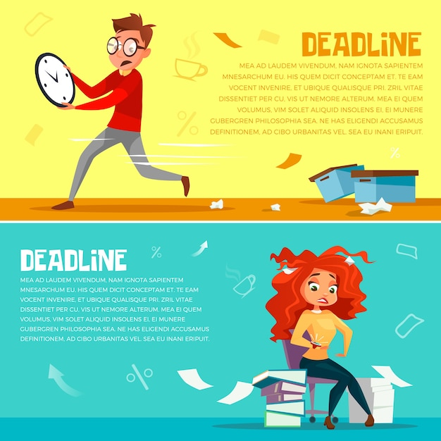 Office managers deadline. Cartoon office manager man running in hurry  Free Vector