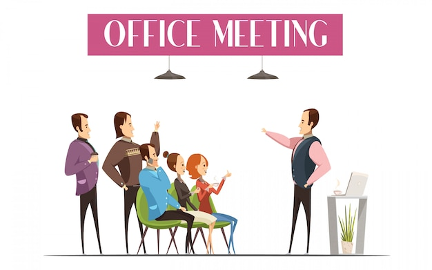 Office meeting design including boss Free Vector