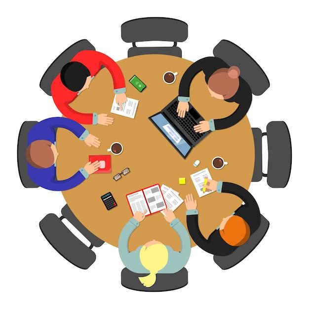 Office meeting top view Premium Vector