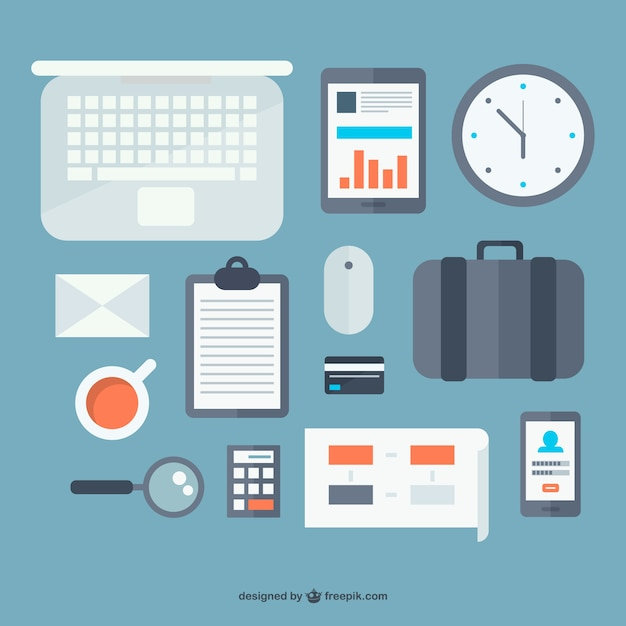 Office objects flat design vector free download for Office design vector