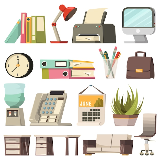 Office orthogonal icon set Free Vector