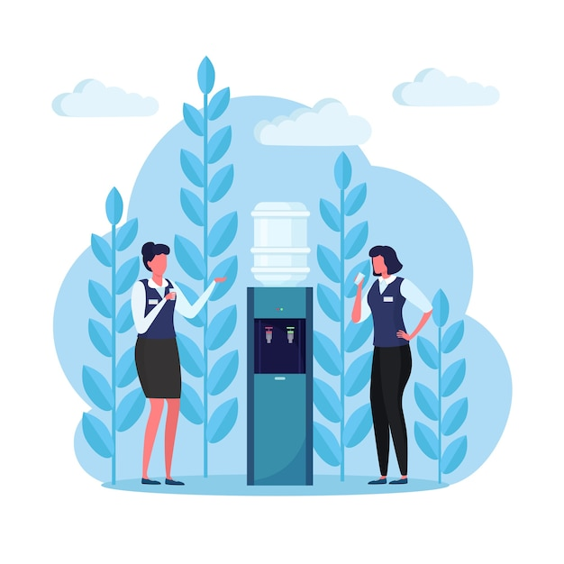 Office people on the break stand at the water cooler and drink beverage. plastic dispenser with big full bottle Premium Vector