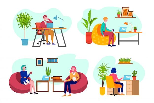 オフィスの人々、職場でのビジネス、コンピュータープログラマー、ビジネス分析、イラストの戦略セットに取り組んでいる男女。オフィス、会社でのビジネス会議。 Premiumベクター