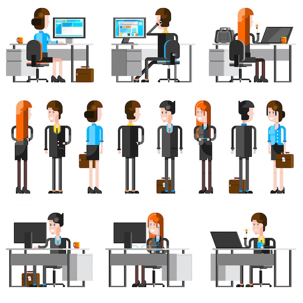 Office people cartoon icons set Free Vector