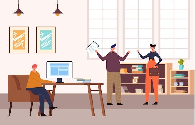 사무실 사람들이 문자 생활 개념. 프리미엄 벡터