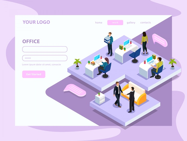 Office people during work isometric web page with interface elements on lilac white Free Vector