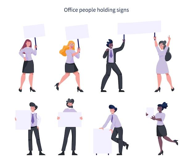 Офисные люди, занимающие набор баннеров. собрание рабочего персонажа с пустой пустой доской для сообщения. рекламная концепция. Premium векторы