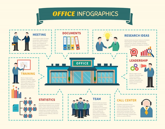 Office  people infographics web page Free Vector
