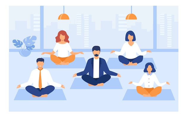 Office people practicing yoga and meditation Free Vector