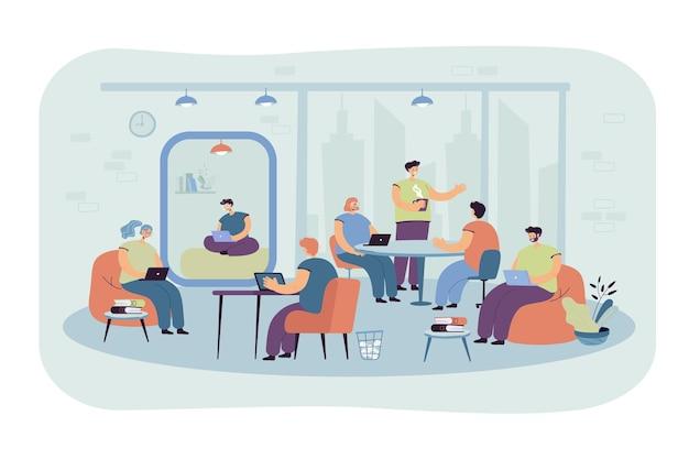 현대적인 코 워킹 인테리어의 직장에서 노트북과 컴퓨터를 사용하는 사무실 사람들. 만화 그림 무료 벡터