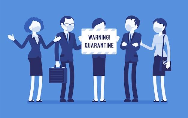 オフィス検疫警告。隔離、感染症、伝染病の危険性があることに注意してマスクをした労働者のチームは、ウイルスの蔓延を防ぐために活動を停止します。顔のないキャラクターのイラスト Premiumベクター