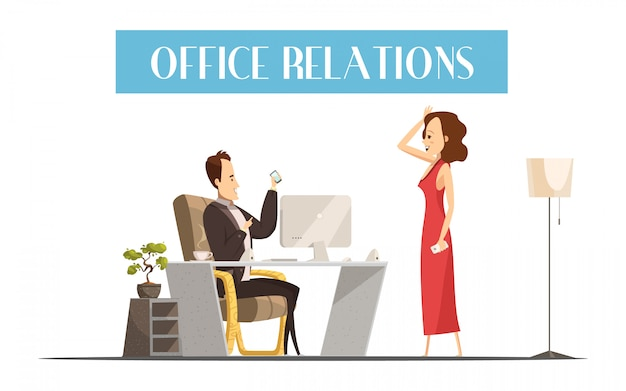 Office relations cartoon style design with attractive woman Free Vector