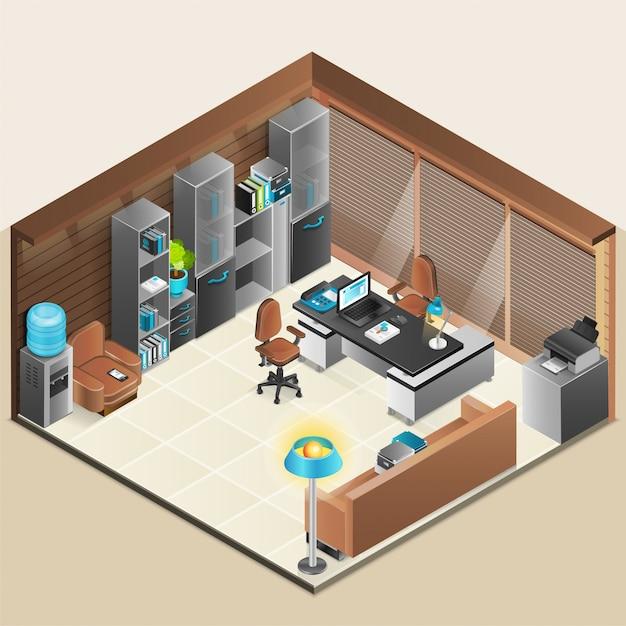 Office room design Free Vector
