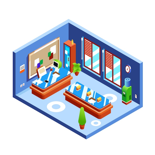 Office room illustration of modern room of boss or presentation in cross section Free Vector