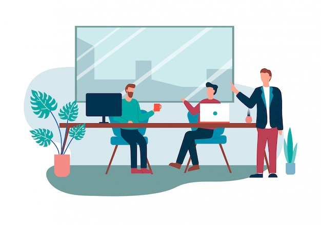 Office room interior cartoon people meeting talk Premium Vector