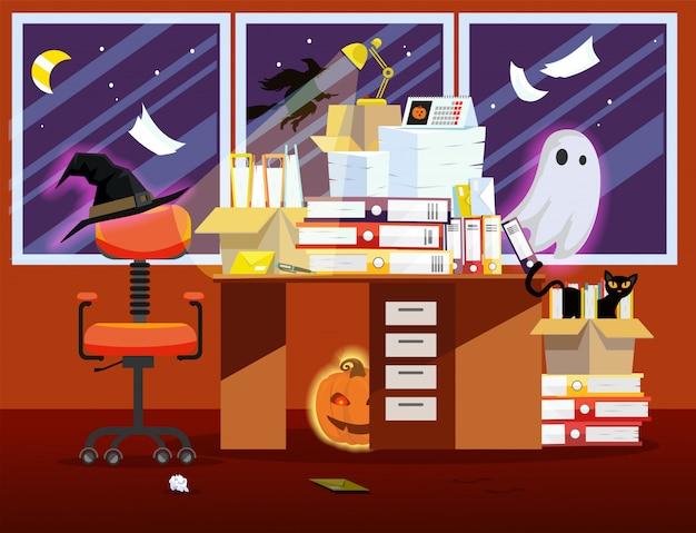 Интерьер комнаты офиса с тыквой, светящийся призрак и кучу бумажных документов на столе. Premium векторы
