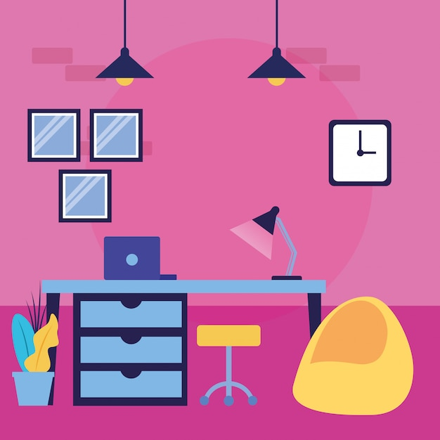 Office room Free Vector