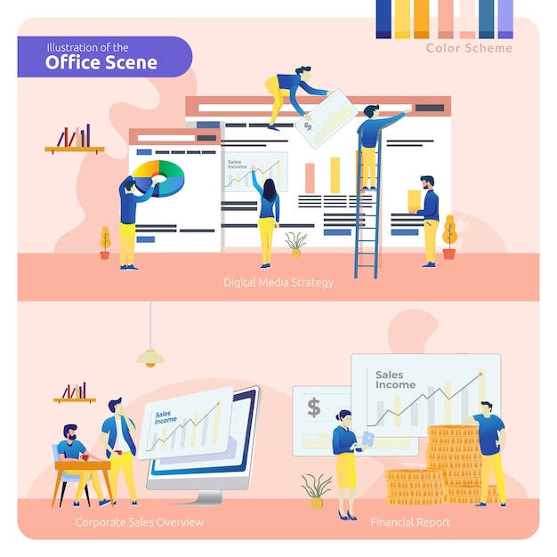 Office scene in set of pack, digital media strategy, corporate sales overview and financial report Premium Vector