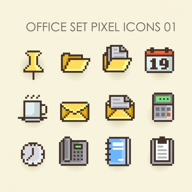 office set pixel icons vector free download