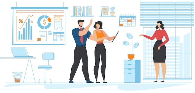 Office situation and coworkers community cartoon Premium Vector