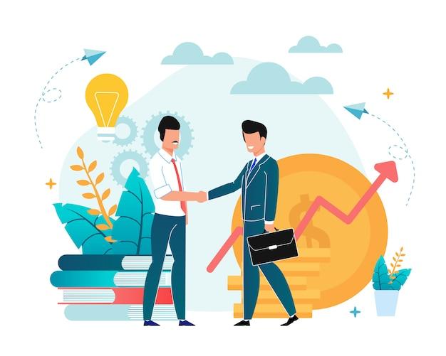 Office situation partnership flat illustration. Premium Vector