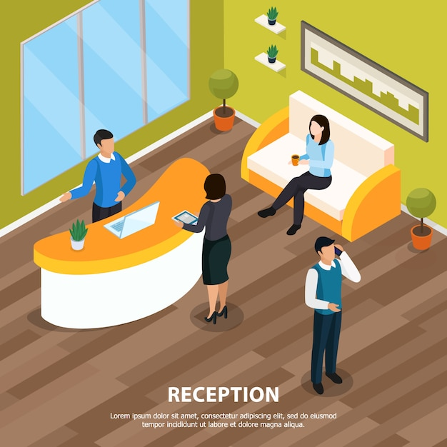 Office staff at reception isometric  with interior elements Free Vector