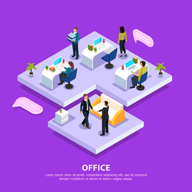 Office staff at work places and during business meeting isometric composition on purple Free Vector