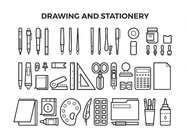 Office stationery and drawing tools line icons Premium Vector