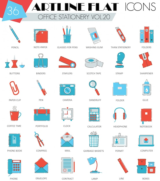 Office stationery flat line icons set Premium Vector