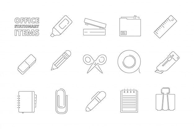 Office stationery items ser Premium Vector