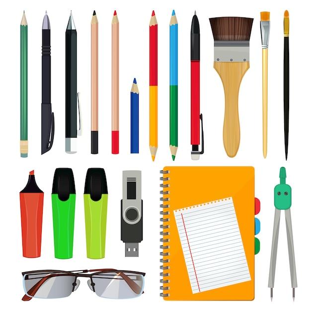 Office stationery or school equipment. Premium Vector